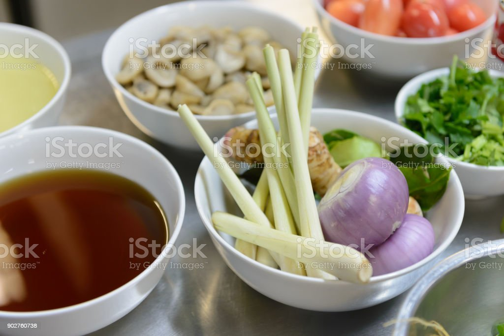 ingredients for TomYam spicy soup on table in the kitchen stock photo