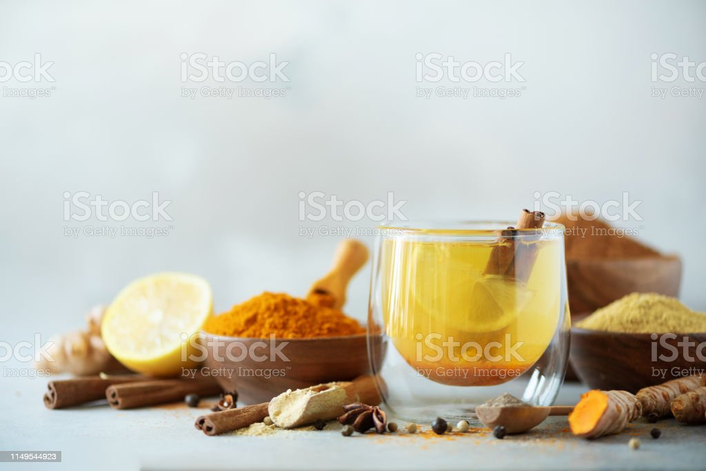 Ingredients For Turmeric Hot Tea On Grey Background Healthy