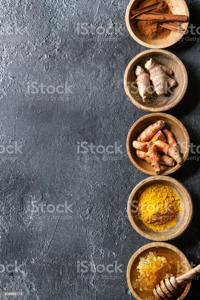 Ingredients for turmeric latte stock photo