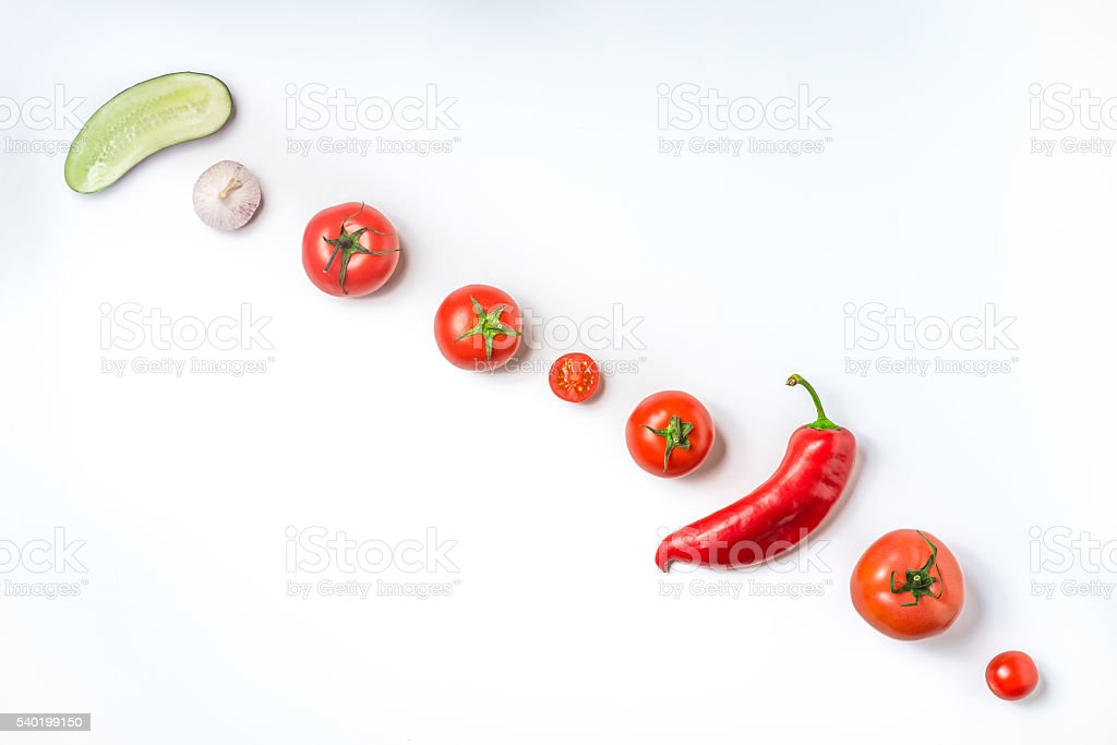 Ingredients for vegetable soup gazpacho on a white background Li – Foto