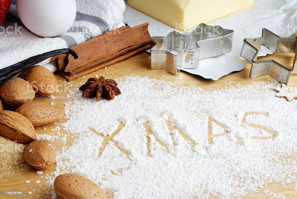 ingredients for xmas baking royalty-free stock photo