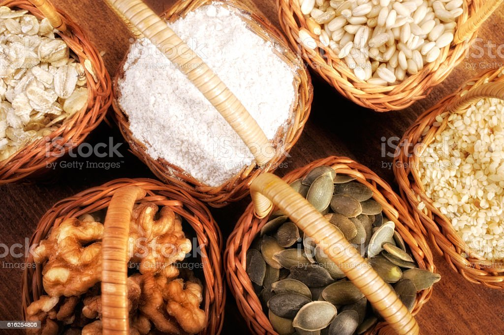 ingredients in baskets stock photo