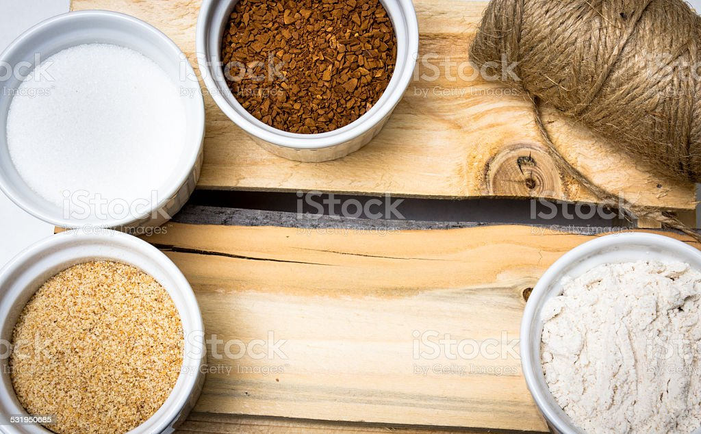Ingredients in cups stock photo