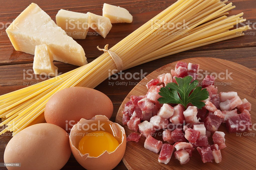 Ingredients laid out for spaghetti carbonara royalty-free stock photo