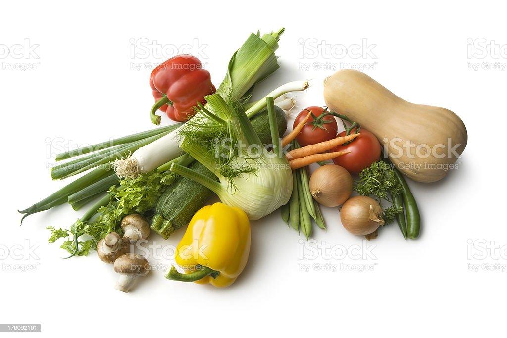 Ingredients: Leek, Fennel, ButternutSquash, Mushroom, Tomato, Onion, Bean, BellPepper, SpringOnion royalty-free stock photo