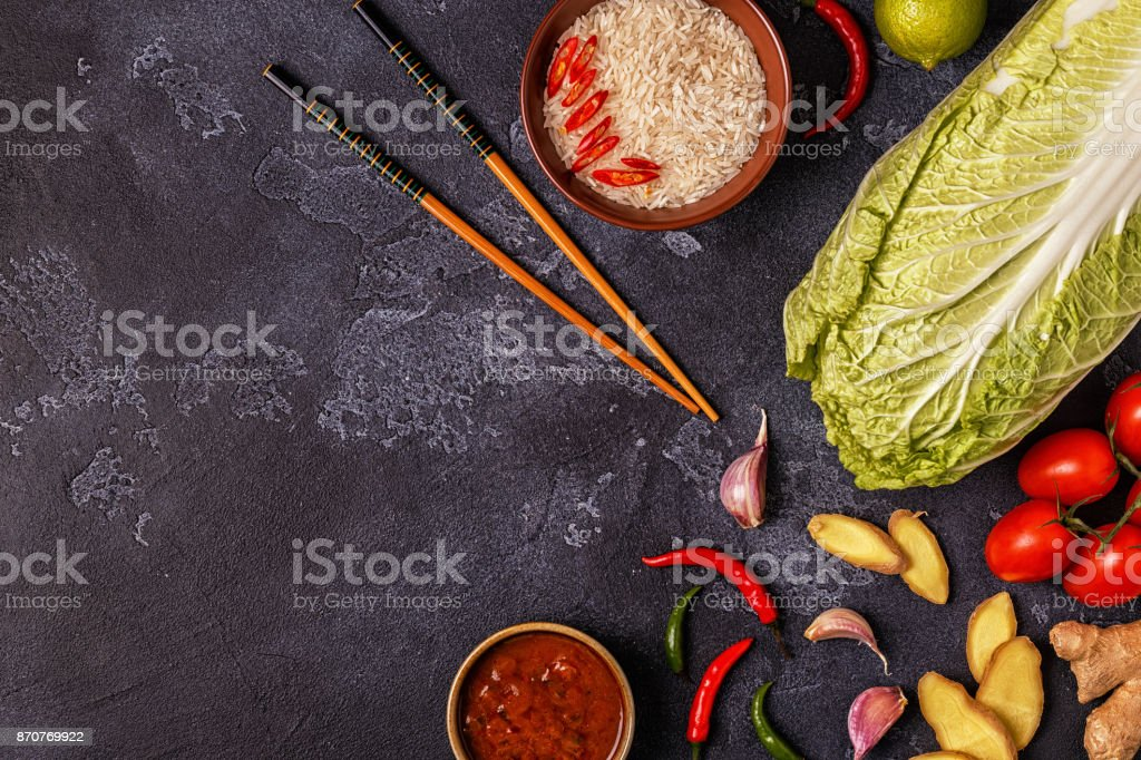 Ingredients of  asian spicy food. stock photo