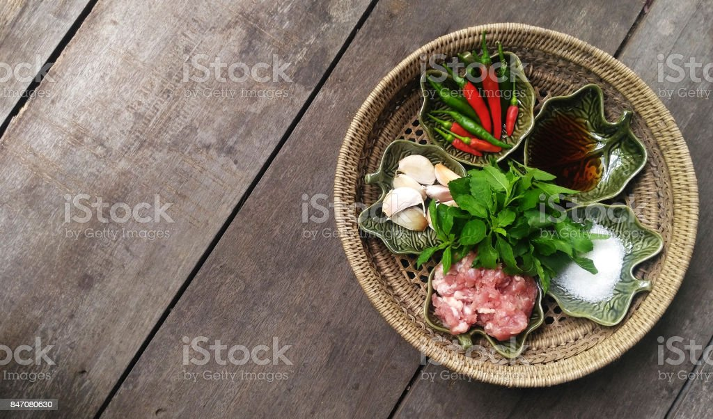 Ingredients of Stir Fried Pork with Holy Basil and Chili stock photo