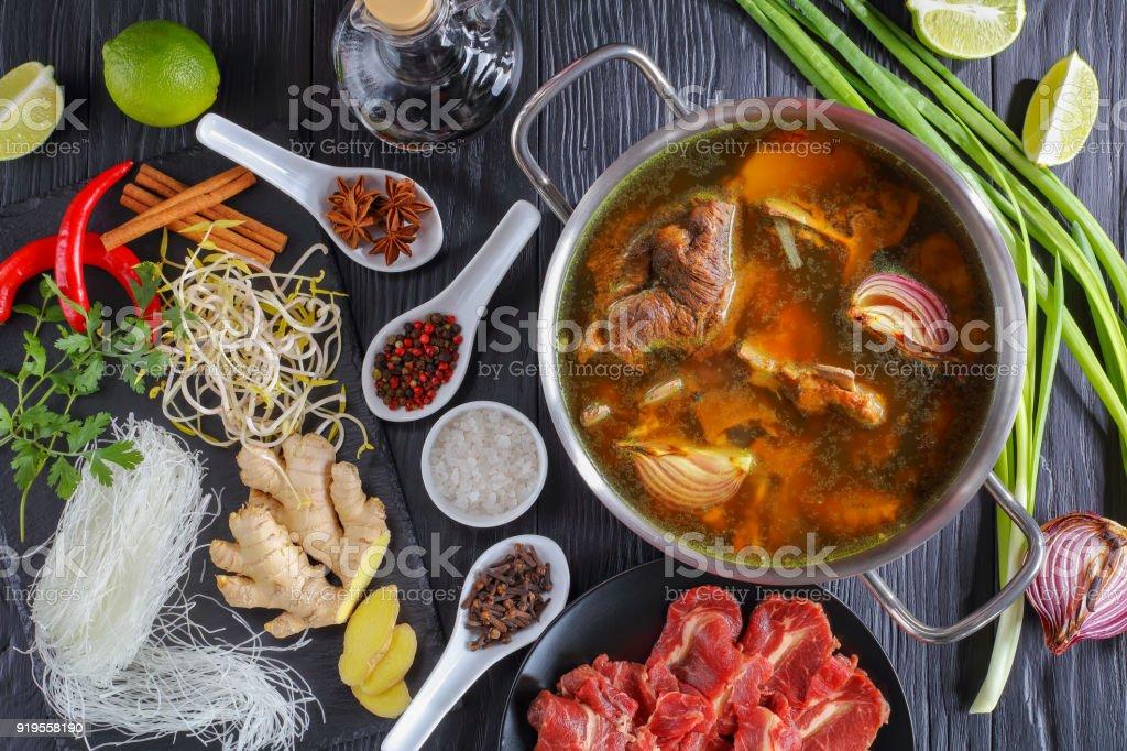 ingredients of Vietnamese soup Pho Bo stock photo