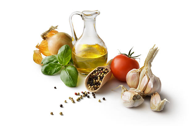 Ingredients: Olive Oil, Tomato, Basil, Garlic and Onion stock photo