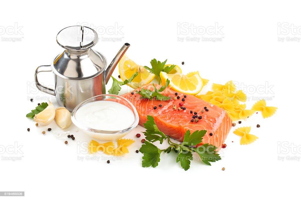 Ingredients. Pasta with salmon. stock photo