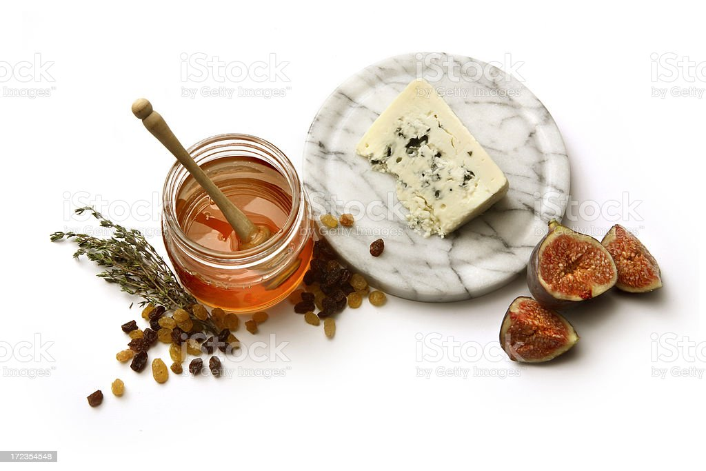 Ingredients: Roquefort, Honey, Fig, Raisins and Thyme royalty-free stock photo
