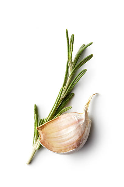 Ingredients: Rosemary and Garlic stock photo