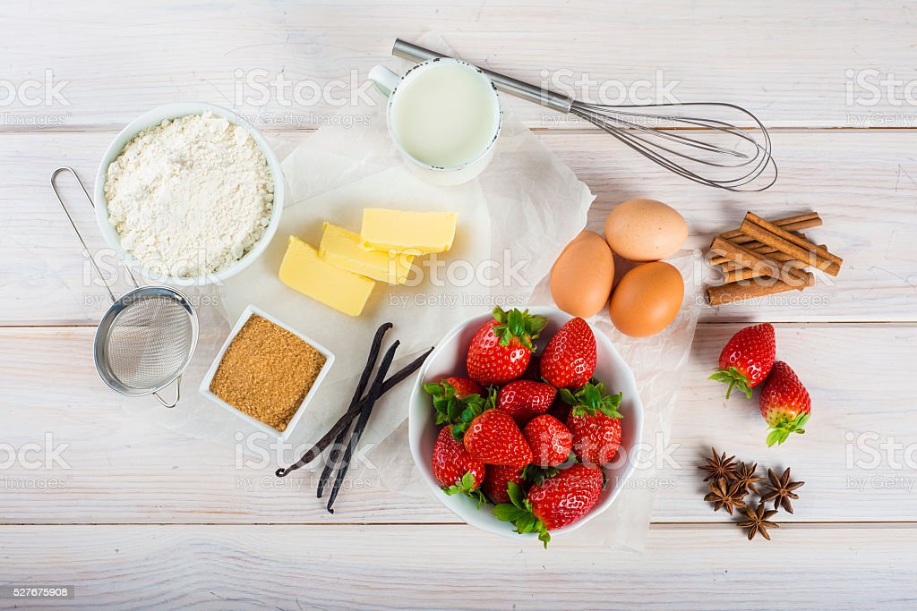 Ingredients to cook an strawberry cake stock photo