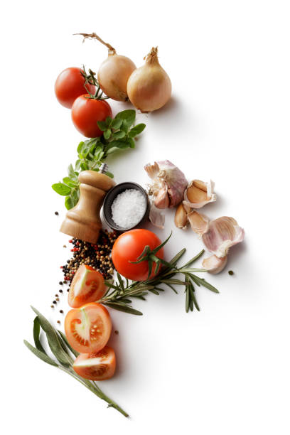 Ingredients: Tomatoes, Onions, Garlic, Oregano, Rosemary, Salt and Pepper Isolated on White Background Ingredients: Tomatoes, Onions, Garlic, Oregano, Rosemary, Salt and Pepper Isolated on White Background ingredient stock pictures, royalty-free photos & images