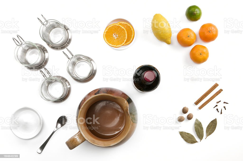 Ingredients used in making Mulled Wine on white background royalty-free stock photo