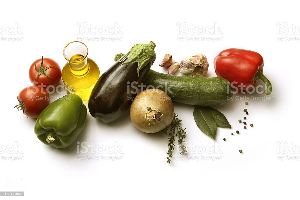 Ingredients: Vegetables for Ratatouille Isolated on White Background royalty-free stock photo
