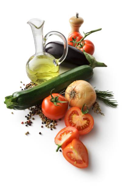 ingredients: vegetables for ratatouille isolated on white background - mediterranean food imagens e fotografias de stock