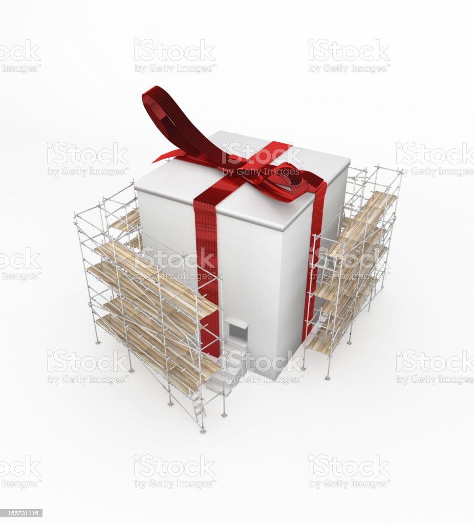 Inhabited Gift Scaffolding, White royalty-free stock photo