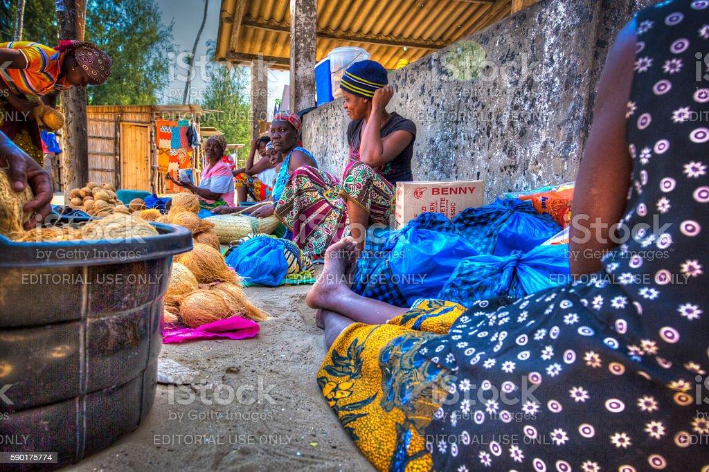 Inhaca island Inhaca island - Mozambique - 20 April 2016. Market on inhaca island where the locals gather and sell their merchandise. Africa Stock Photo