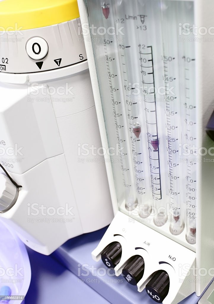 inhalation anesthesia in operation. stock photo