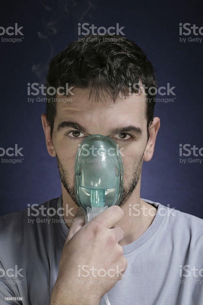 Inhaling stock photo