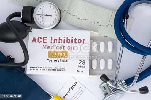 ACE inhibitor drug for blood, for prevention or prophylaxis of vascular diseases of heart or vessel. Packing of pills with inscription