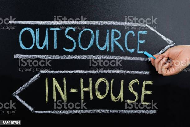 Inhouse or outsource concept drawn on blackboard picture id838945764?b=1&k=6&m=838945764&s=612x612&h=un2iuf8ru0uw ilxim hqqkfvfpjrbejffhlwu6ewca=