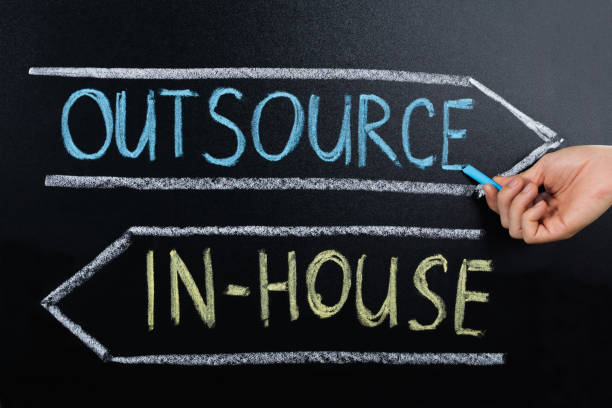 In-house Or Outsource Concept Drawn On Blackboard Close-up Of Person Hand Showing In-house Or Outsource Concept On Blackboard outsourcing stock pictures, royalty-free photos & images
