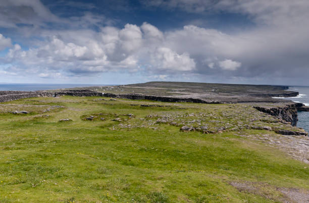 Inishmore from the Second Enclosure of Dun Aonghasa (Dun Aengus), Aran Islands, Ireland. View of the island of Inishmore (Inis Mor) from close to the wall of the inner enclosure of Dun Aonghasa (Dun Aengus) facing east (northeast to southeast as well) encompassing the north and south coasts.  There are surrounding dry stone walls that define the second enclosure of the Bronze/Iron Age fort and beyond are numerous walled fields and farm houses.  Visible on the distant ridge is Dun Eochla as a tiny bump towards the north coast (left) other places visible are the Oat Quarter, Ballinacregga.  Inishmore (Inis Mor), Aran Islands, County Galway, Ireland michael stephen wills aran stock pictures, royalty-free photos & images