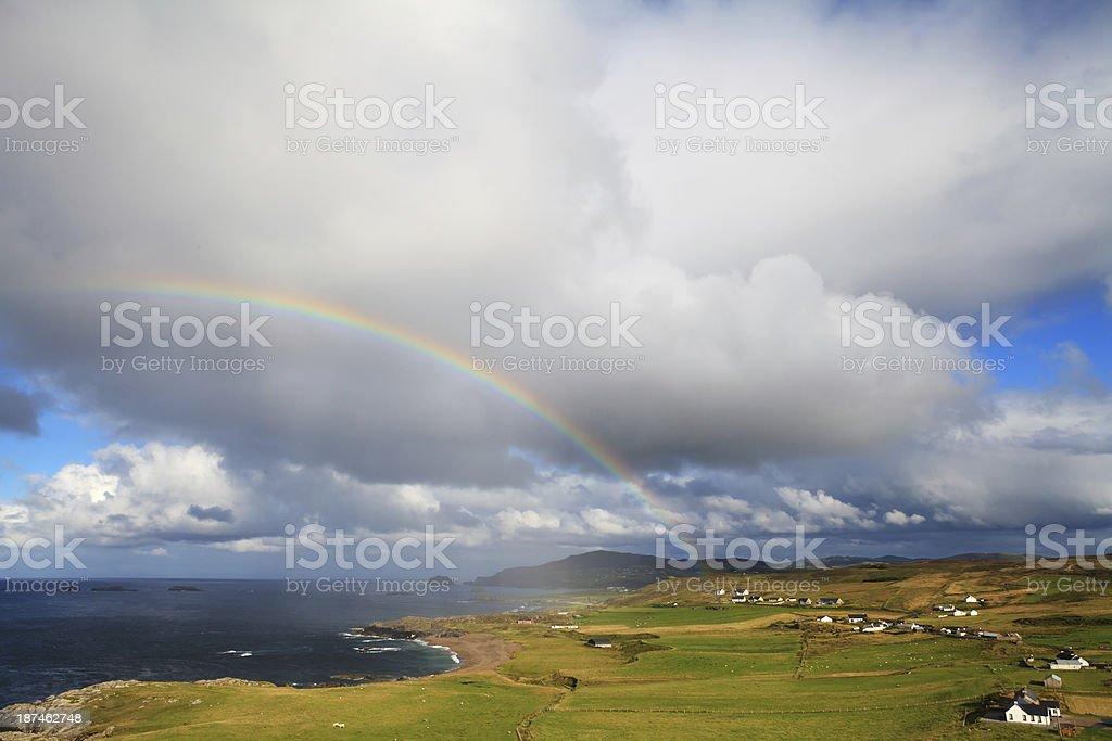 Inishowen Peninsula with rainbow, Ireland. royalty-free stock photo