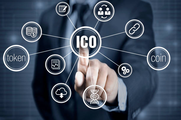 Initial coin offering or ICO stock photo