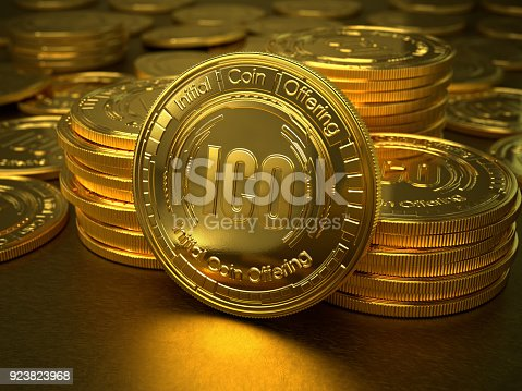 3d gold coins with text ICO and Initial Coin Offering