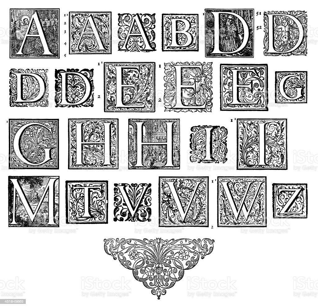 Initials Ornamental Capitals from an antique bible: Full Set stock photo