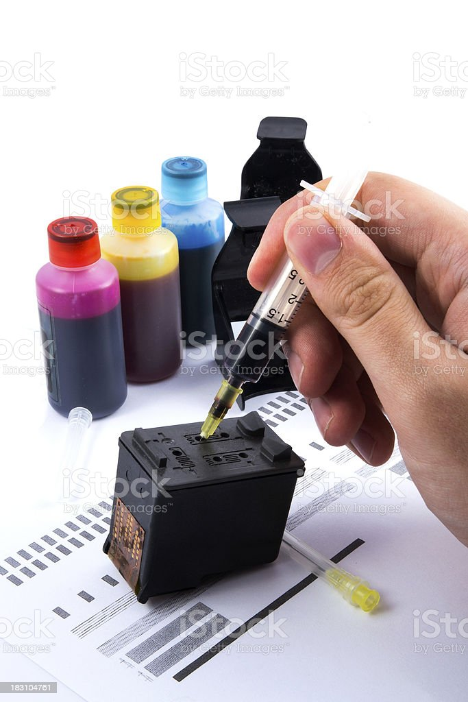 Injecting ink cartridge. Set of refill inkjet for print. royalty-free stock photo