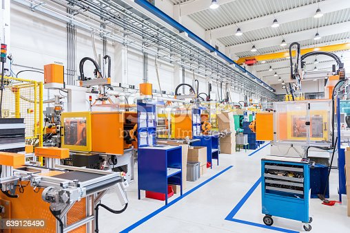 istock Injection moulding modern machines in factory 639126490