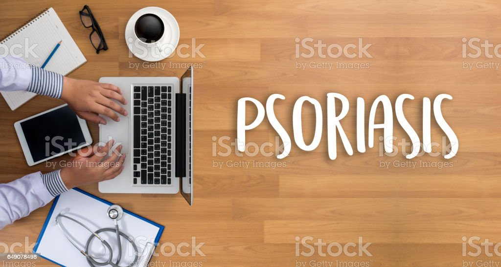 Injections and Syringe. Psoriasis Diagnosis, Medical Concept. Composition of Medicaments stock photo