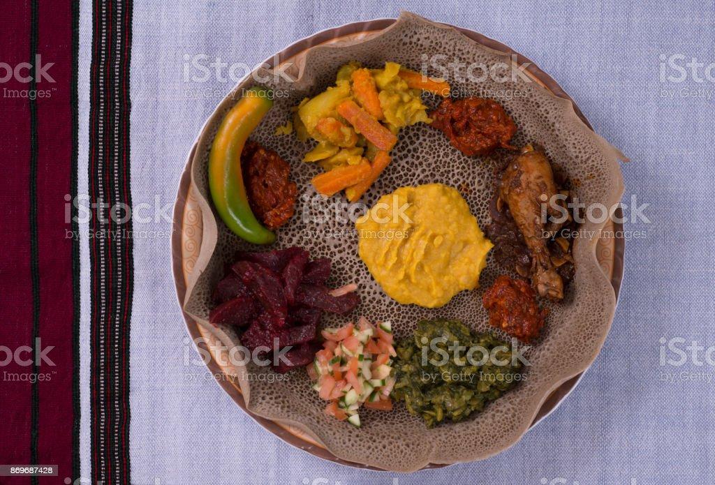 Injera beyaynetu meal. stock photo