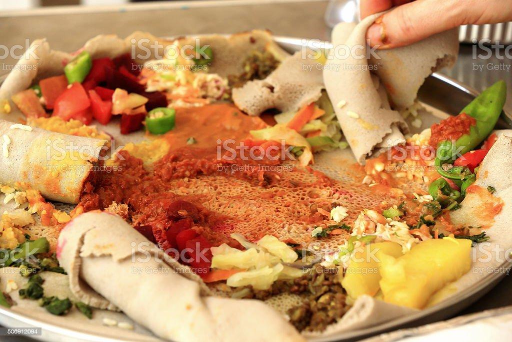 Injera dish made of teff cereal. Debre Birhan-Ethiopia. 0013 stock photo