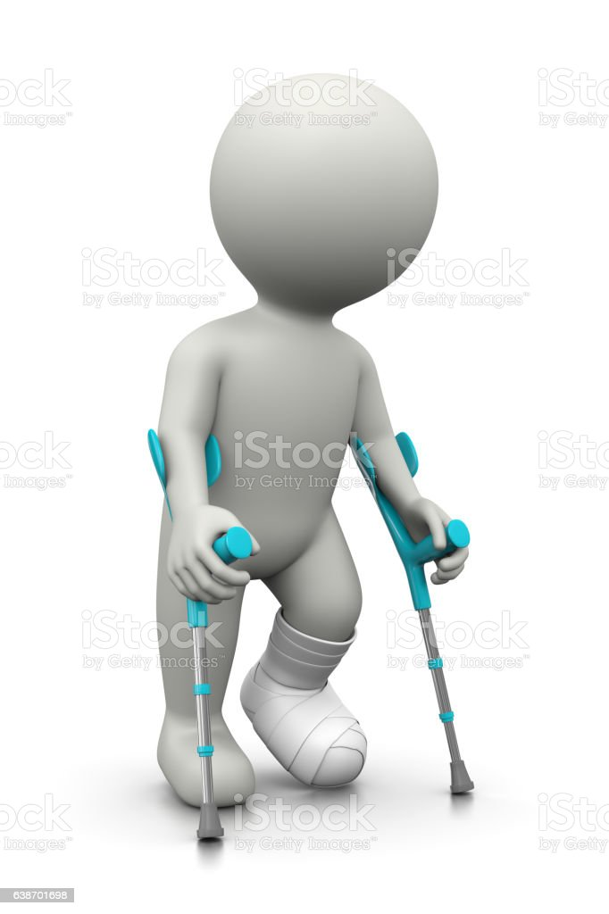 Injured 3D Character with Crutches stock photo