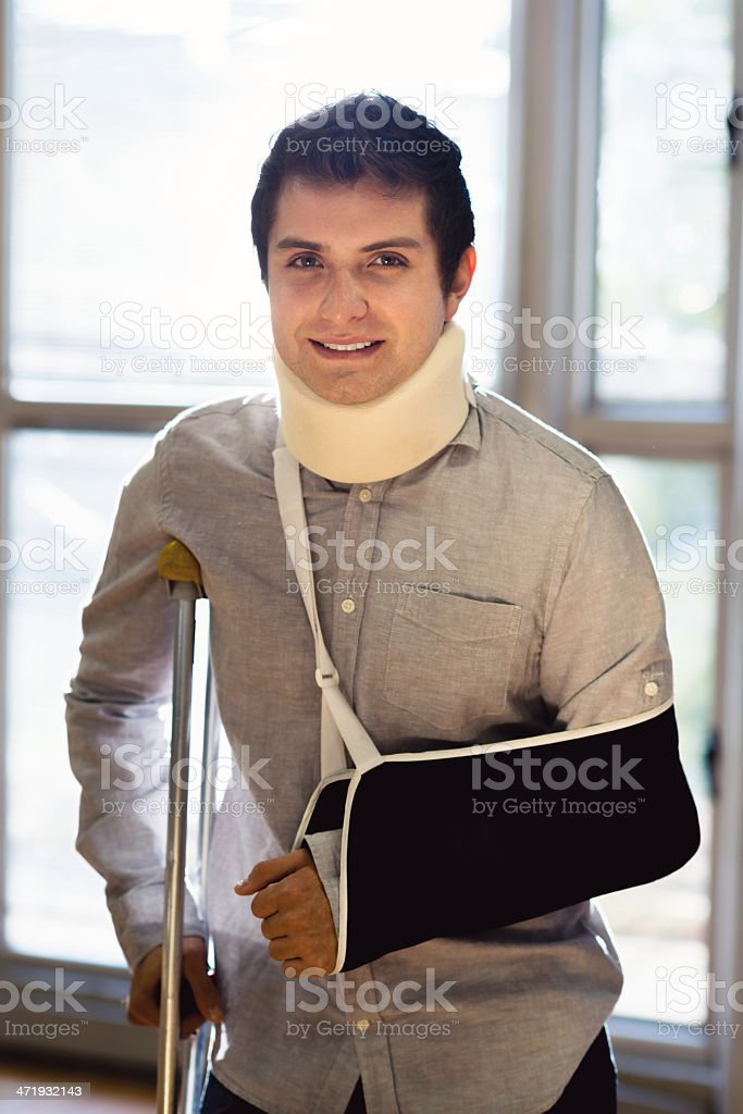 Injured man after being on an accident stock photo