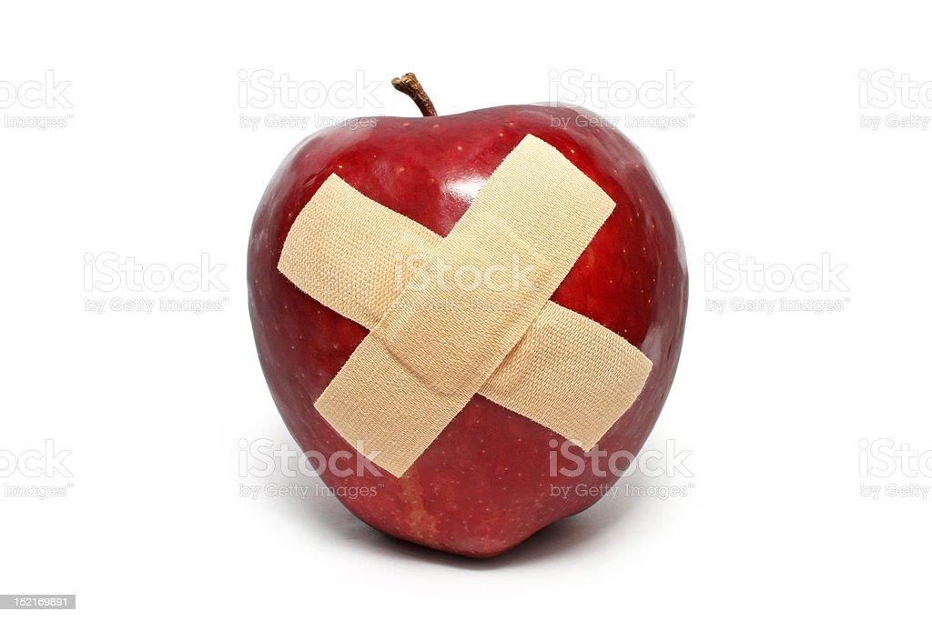 Injured Red Apple stock photo