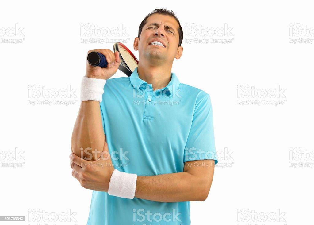 injured tennis sportsman stock photo