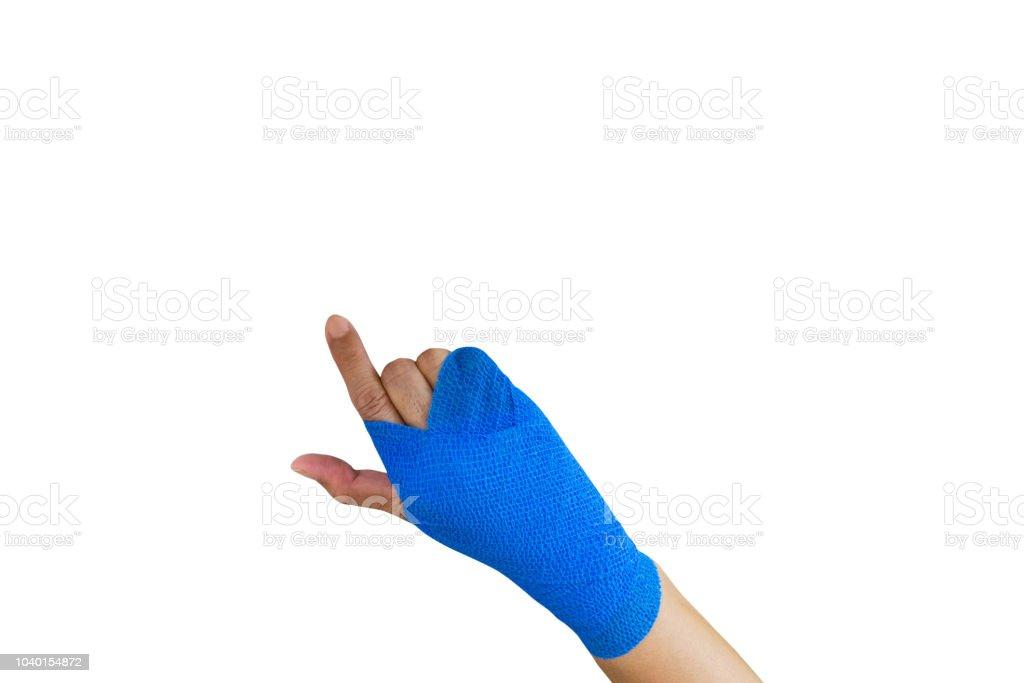 Injured Woman With Blue Elastic Bandage On Hand Isolated On White