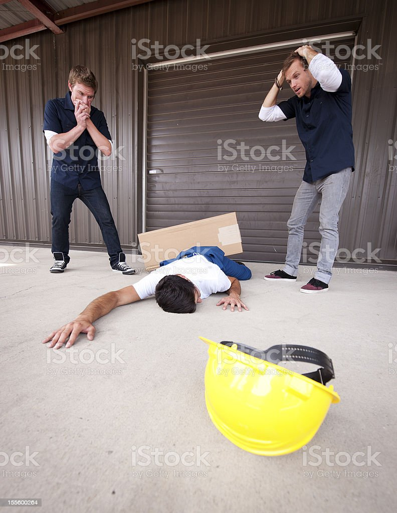 Injured Worker on a Loading Dock., Work place Safety. royalty-free stock photo