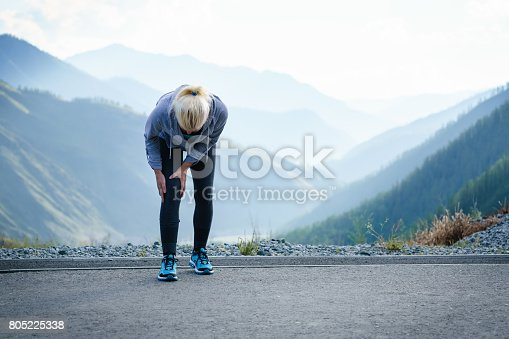 istock Injuries - sports running knee injury on woman. 805225338