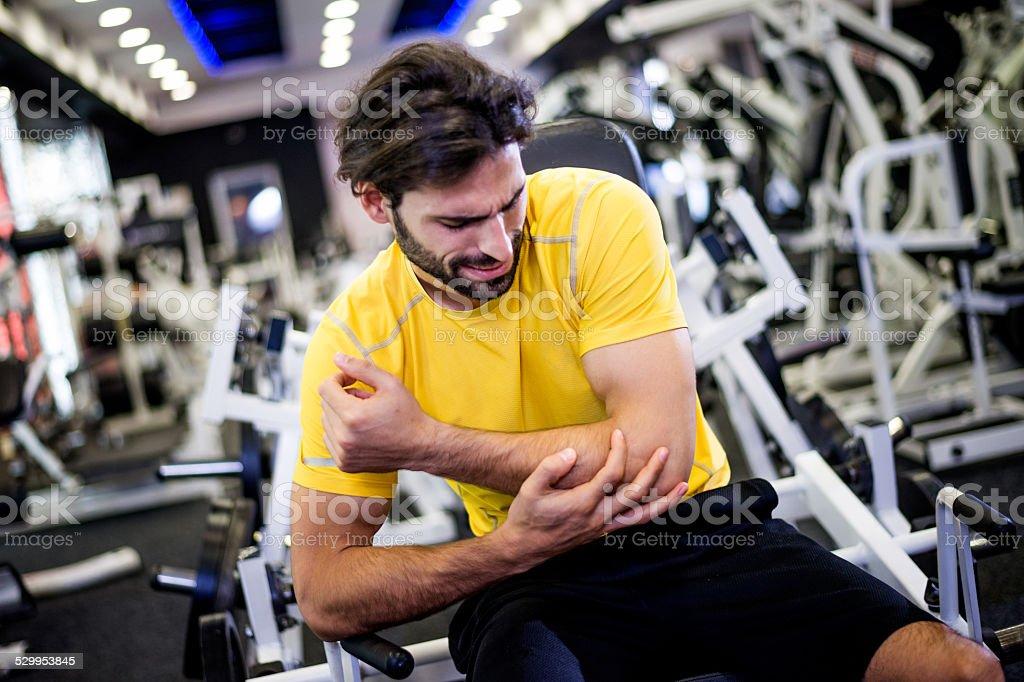 Injury during workout routine stock photo