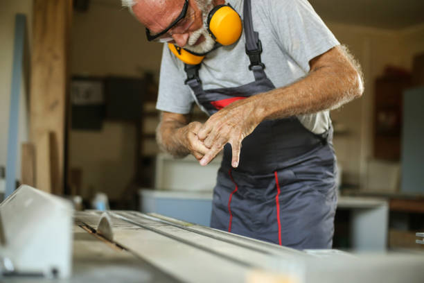 Injury in a lumbermill stock photo
