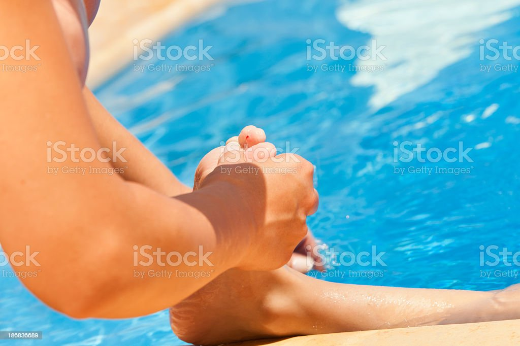 Injury in the swimming pool stock photo