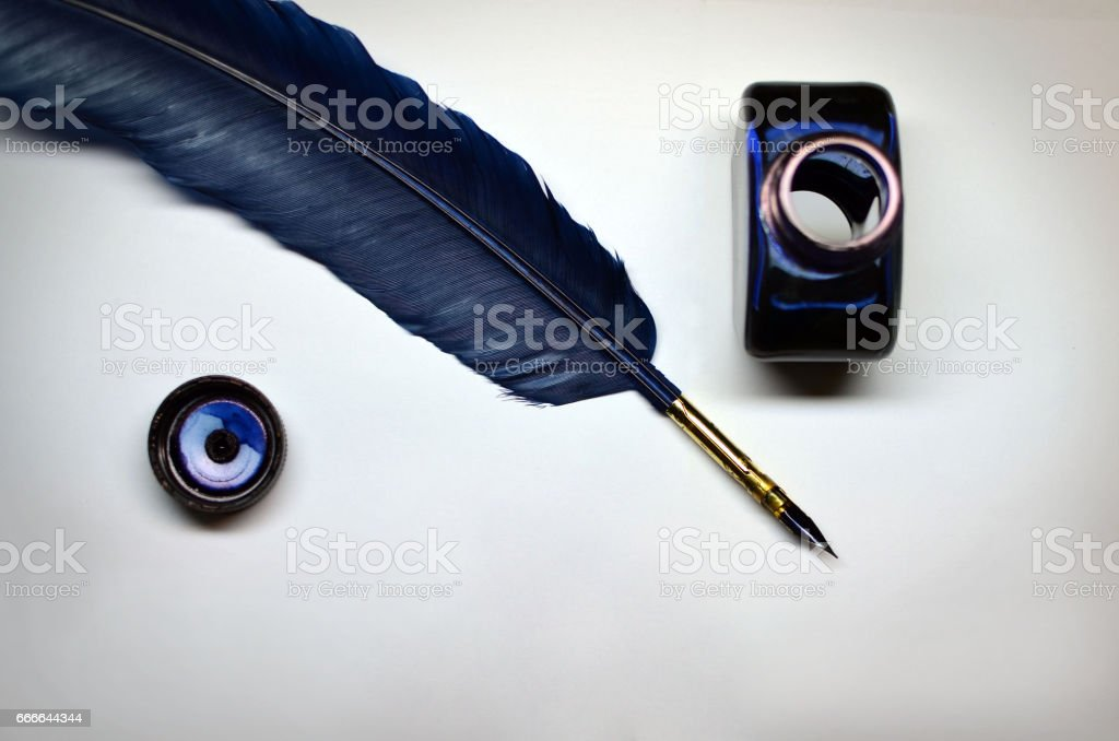 Ink and quill stock photo