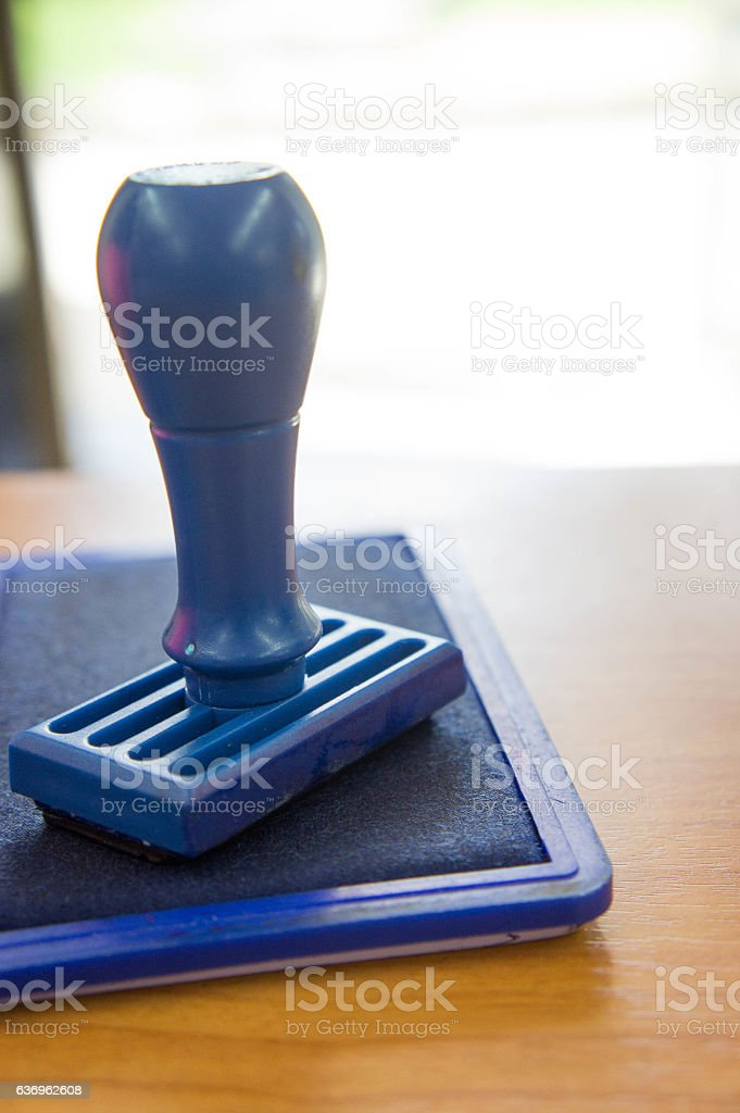 Ink and stamp Used to stigmatize the document. stock photo